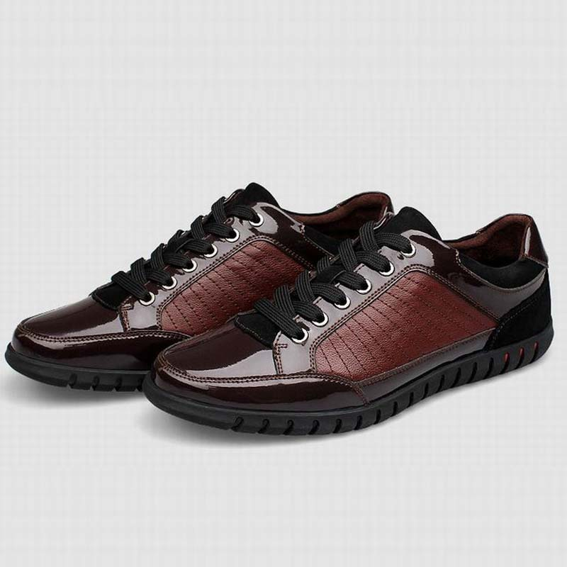 ФОТО plus size 37-46 brand New men Shoes men Casual 100% Genuine Leather flats driving shoes business men's shoes casual high quaity