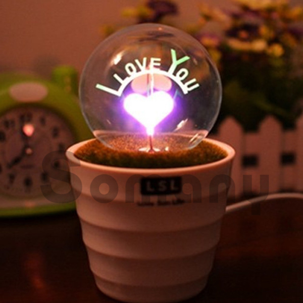 Romantic Small Potted Night Light ABS AC220V Tungsten wire Incandescent Rose/I love U/Love/Sunflower Light Gifts for Girls/Kids