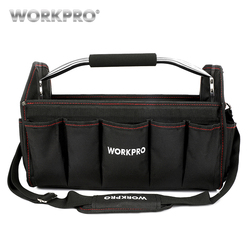 Bolsa de herramientas de 16 pulgadas de WORKPRO, bolsa de almacenamiento de herramientas, bolsa de hombro, bolsa plegable de poliéster 600D