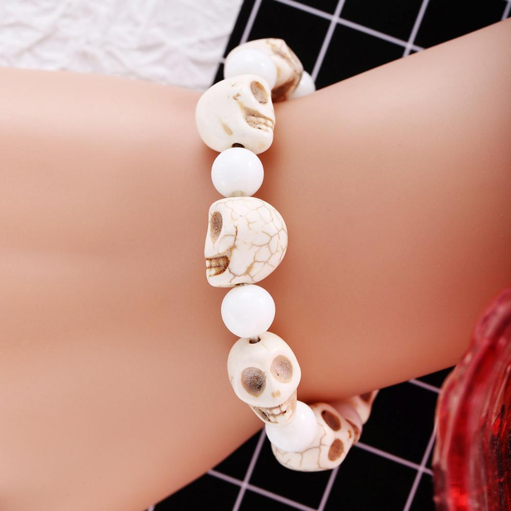 Natural White Beads Charms Carving Skull Skeleton Bracelet Bangle Punk Jewelry