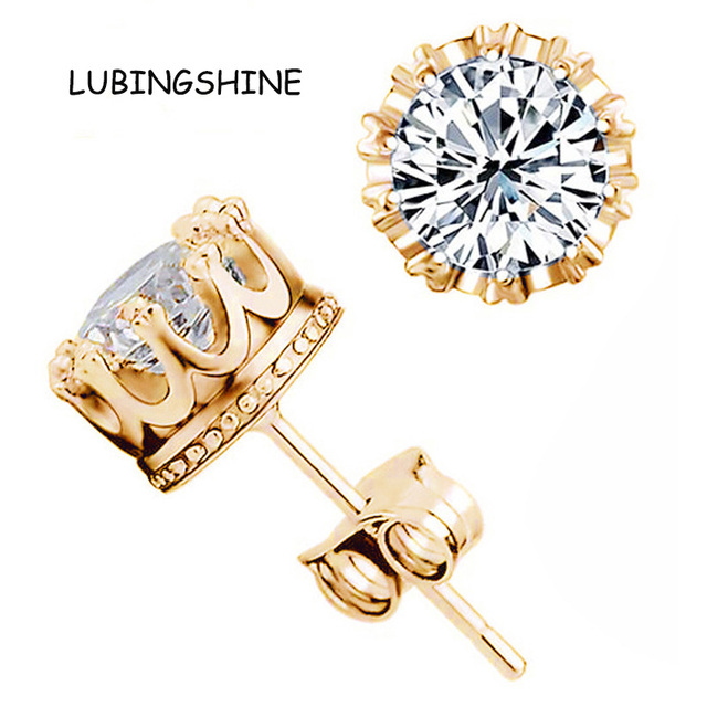 Hot Gold Color Earrings Stud Women Men Jewelry Crown Zircon Crystal Inlayed Double