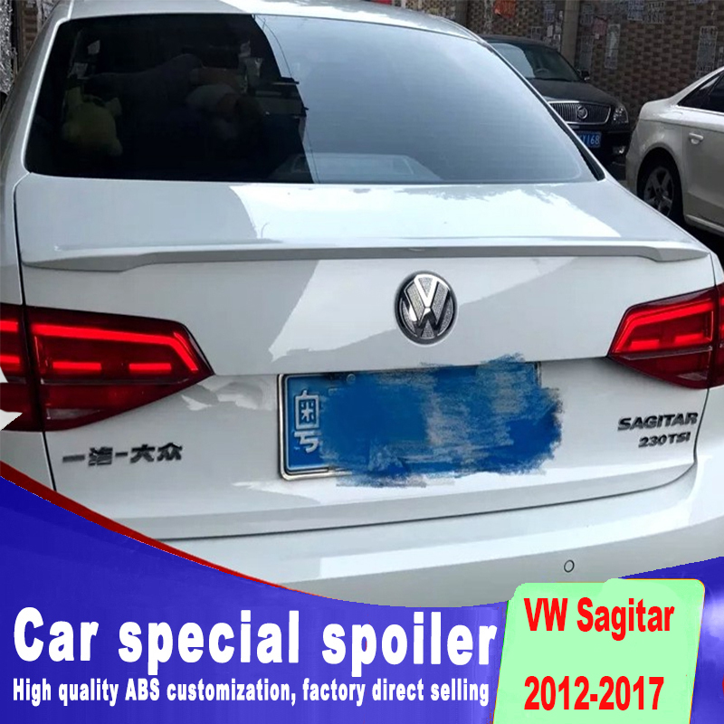 New fashion design sport style streamline spoiler for Volkswagen VW jetta Sagitar 2012 to 2017 up by primer paint black white масштаб 1 18 vw volkswagen sagitar 2012 diecast модель автомобиля черный