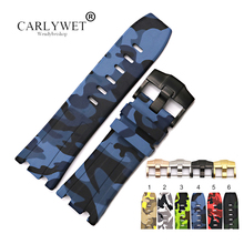 CARLYWET 28mm Wholesale Camo Waterproof Silicone Rubber Replacement Wrist Watch Band Strap Belt With Buckle men silicone rubber wrist watch strap band waterproof with deployment clasp red orange blue coffee