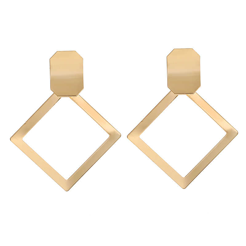 Korean Trendy Gold Earrings Square Geometric Glossy Metal Dangle Drop Earrings For Women Statement Earings Fashion Jewelry 2019
