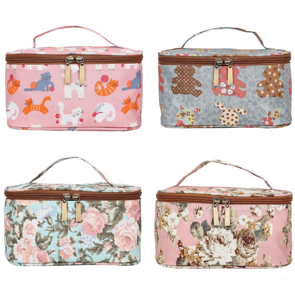 Women Makeup Bags Fashion Printing Zipper Nylon Waterproof Coin Pochette Maquillage Makeup Pouch Trousse De Maquillage Sac