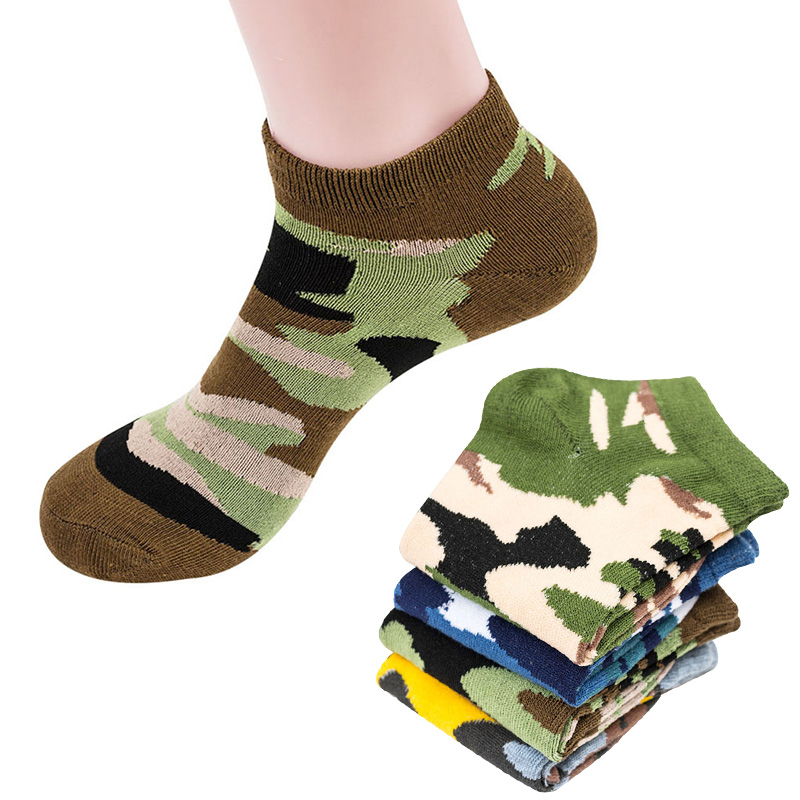 4 Pairs Men Ankle Socks Camouflage Pattern Personality Funny Socks Summer Autumn Breathable Elasticity Excellent Quality Meias