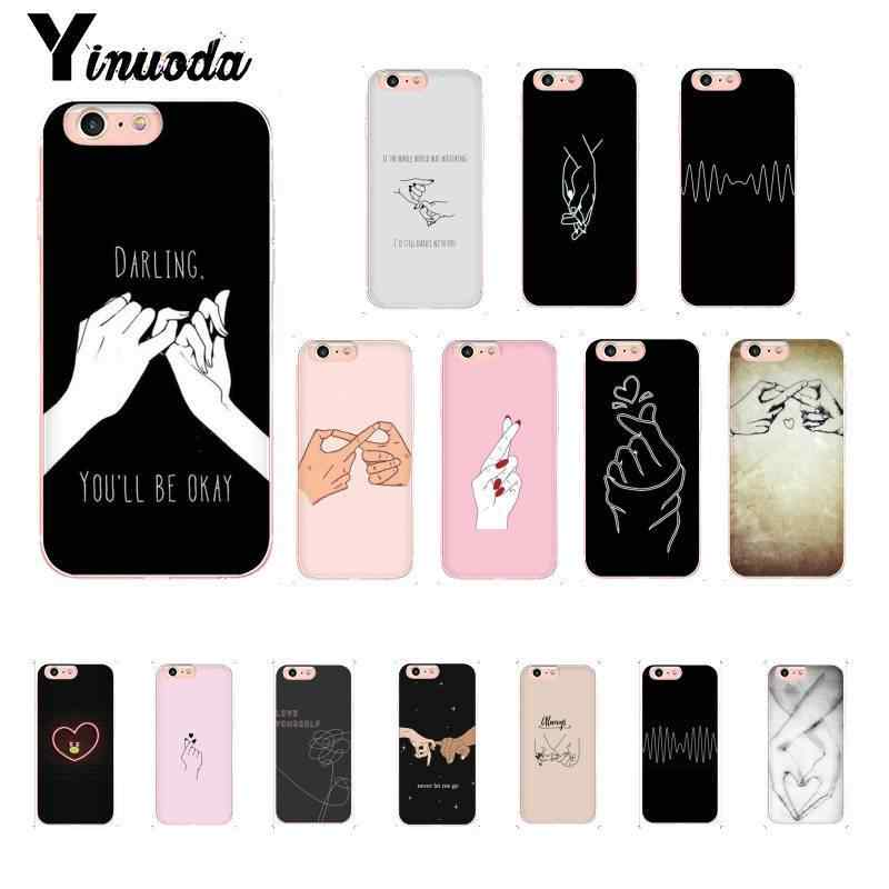 Yinuoda Heart Drawing Love on the finger Pull hook  Soft Phone Case Cover for iPhone 8 7 6 6S Plus X XS MAX 5 5S SE XR 10 Cover