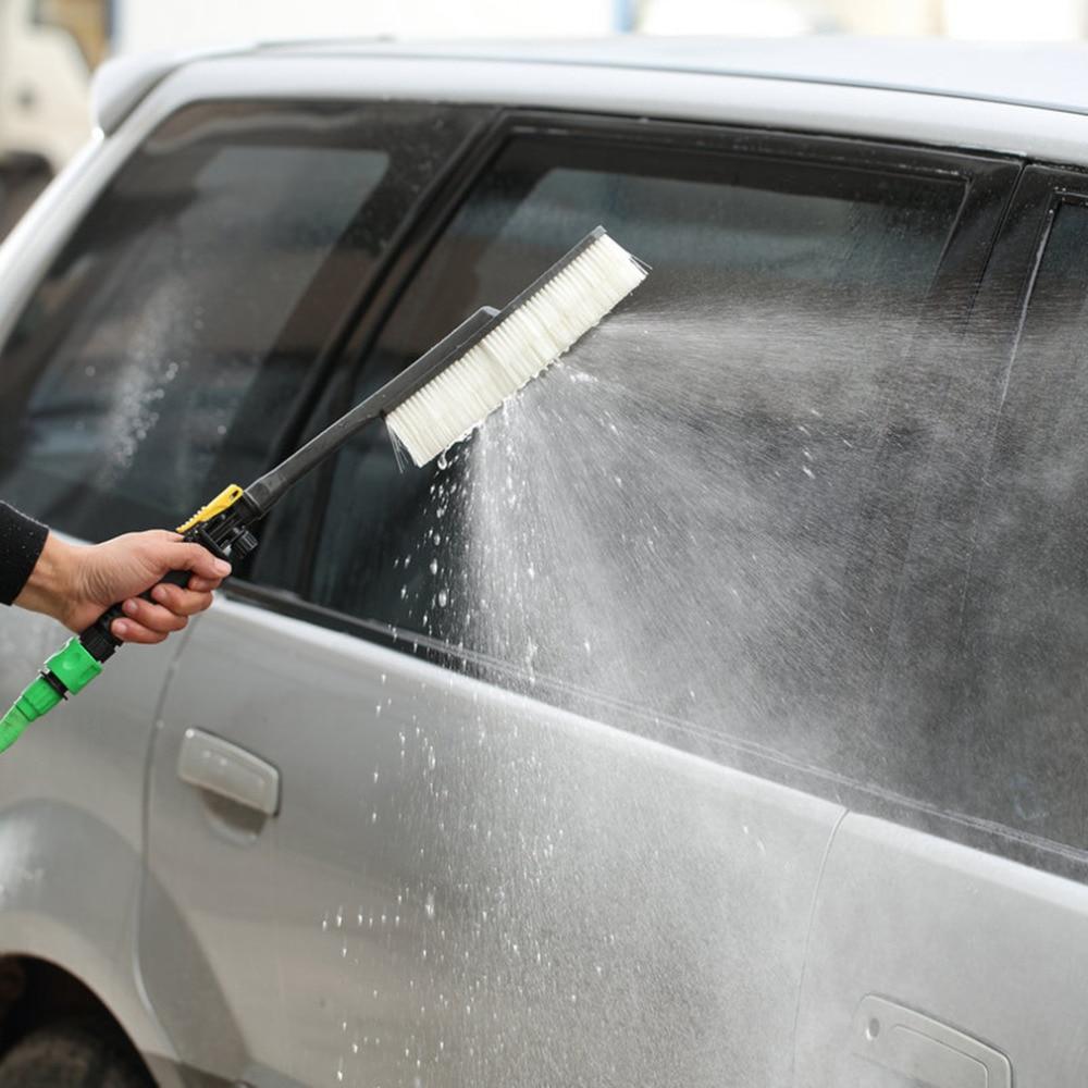 1pcs Black Car Wash Brush Auto Exterior Retractable Long Handle Water Flow Switch Foam Bottle Car Cleaning Brush