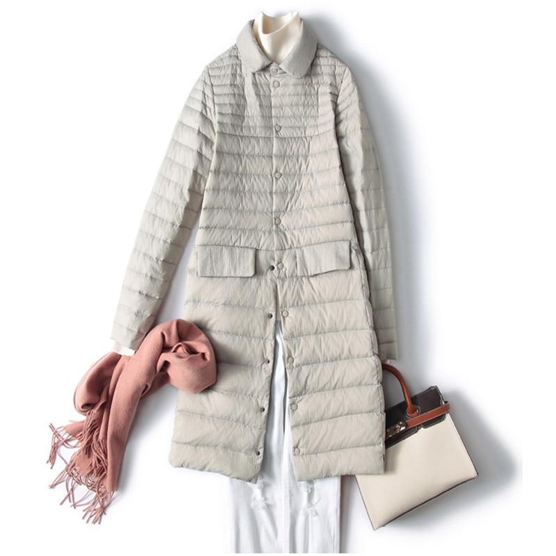 Sanishroly S-2XL New Midi Long   Coat   Autumn Winter Women Ultra Light   Down     Coat   Parka Female White Duck   Down   Jacket Plus Size S384