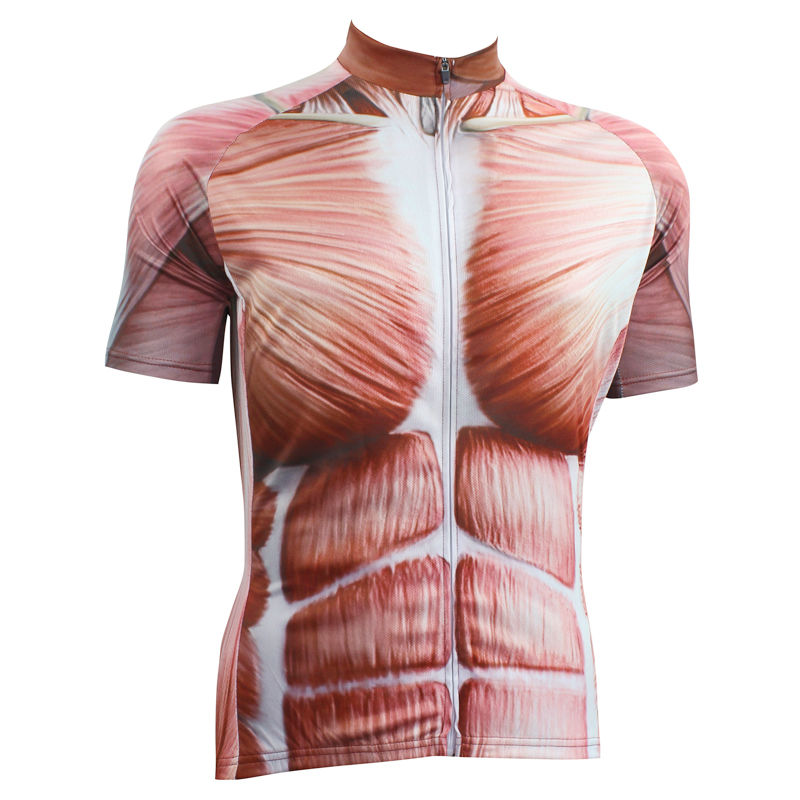 ФОТО Alien SportsWear Muscular Pattern Men's top Sleeve Cycling Clothing Summer Quick Dry bike Bike Jerseys Cycling Size XS-5XL