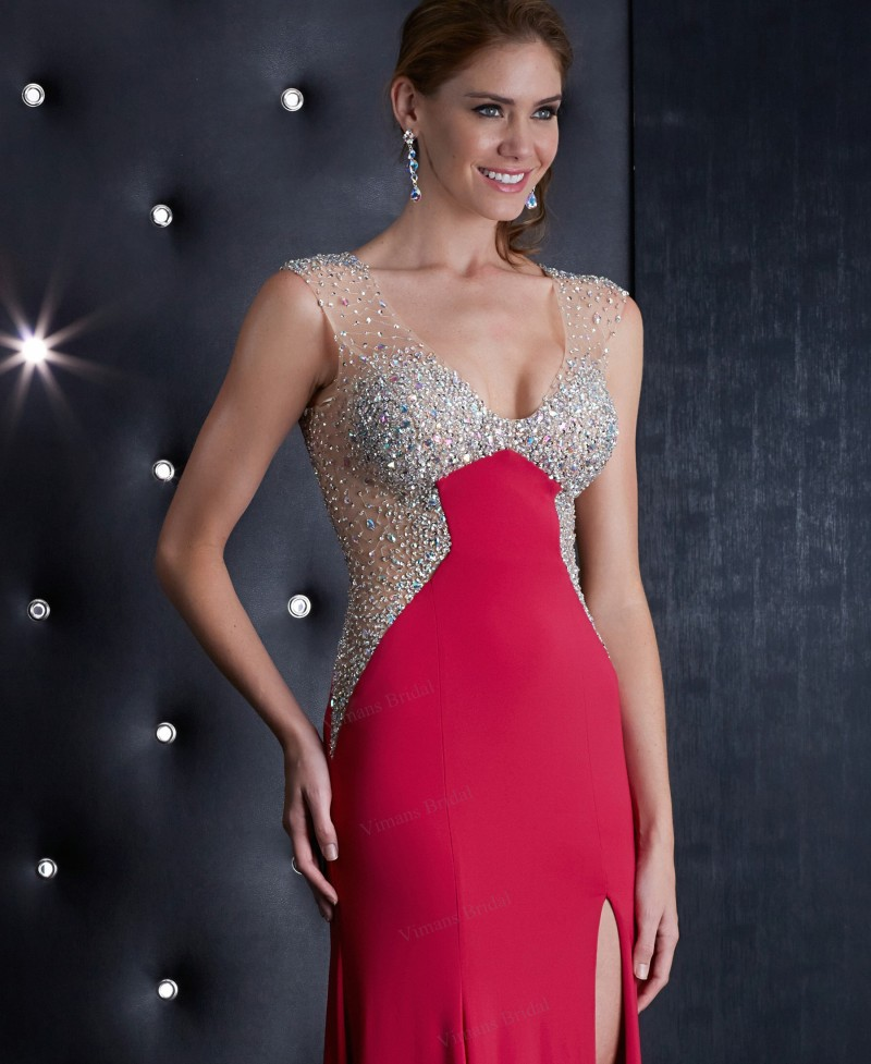 Formal Party Dress Side Cut Out Prom Dresses Mermaid V Neck Beaded