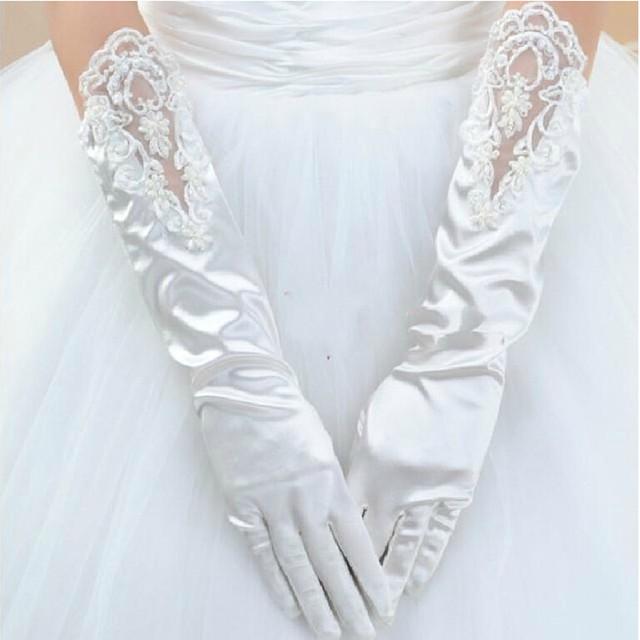 2016 Elegante de Um Tamanho de Noiva Luvas de Renda Luvas de Cetim Beading Pérolas Acessórios Do Casamento