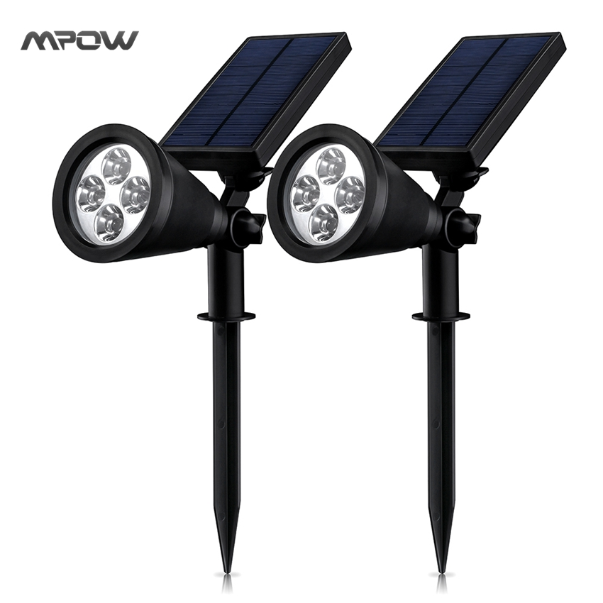 Mpow MLS8D 2Packs Solar Light LED Light Soleil Waterproof Spotlight Garden Light with Auto On/Off Built in Rechargeable Battery