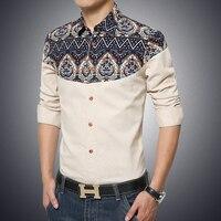 Cotton Linen Men Shirts Floral Patchwork Long Sleeve Blouse Man Europe Size Casual Slim Fit Social Shirts Male