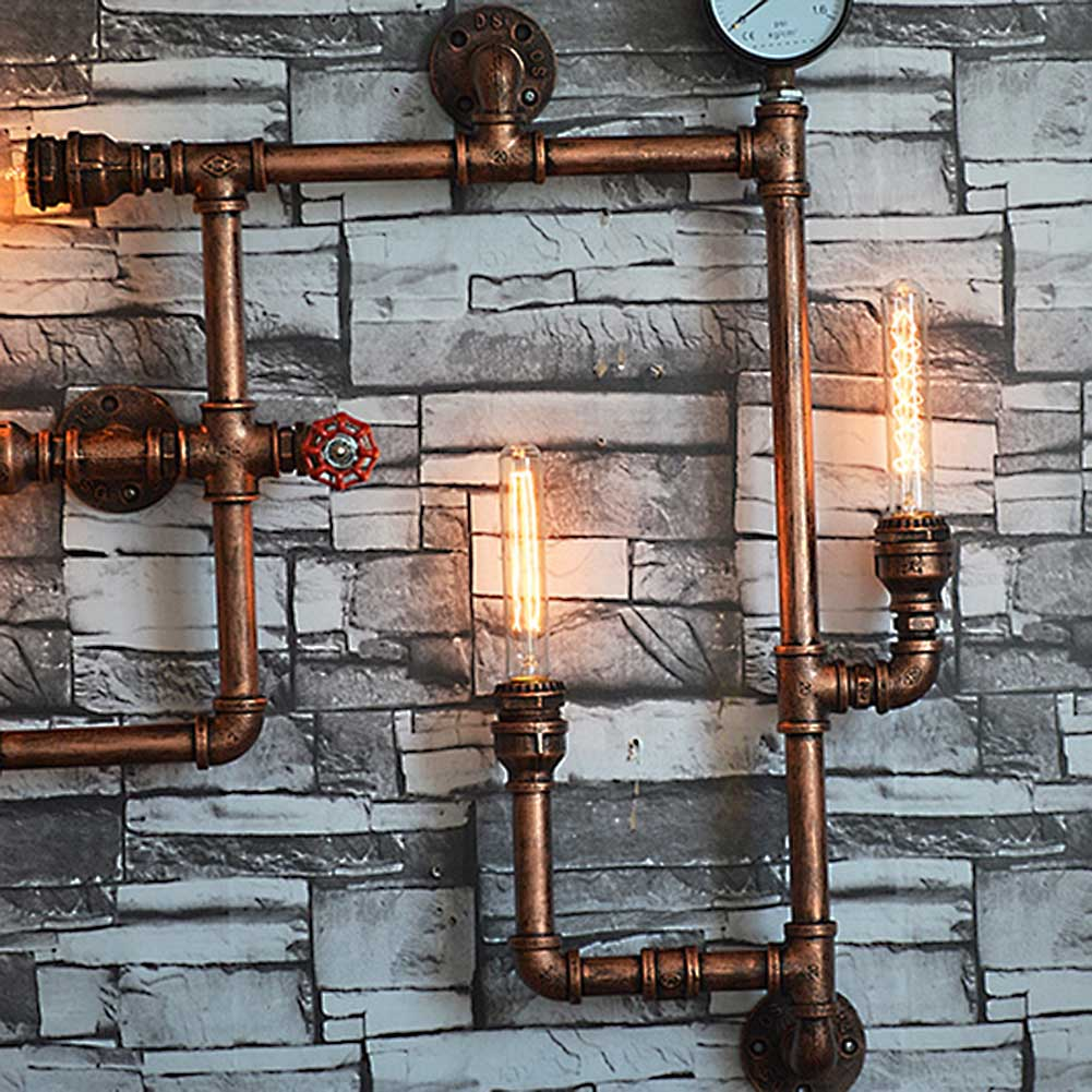 5 Lights American Vintage Aisle Industrial Water Pipe Wall Lamp E27 Sconces Lights Bar Restaurant Edison Bulb Retro Wall Light-in LED Indoor Wall Lamps from Lights & Lighting    2
