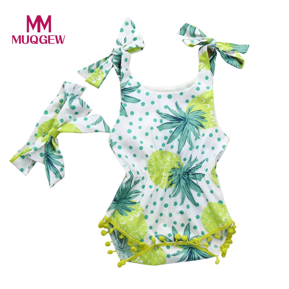 MUQGEW Baby girls boys Romper Sun Clothes Newborn Infant Baby Girl Floral Tassel Strap Jumpsuit Headband Outfit Set Pineapple 2017 floral baby romper newborn baby girl clothes ruffles sleeve bodysuit headband 2pcs outfit bebek giyim sunsuit 0 24m