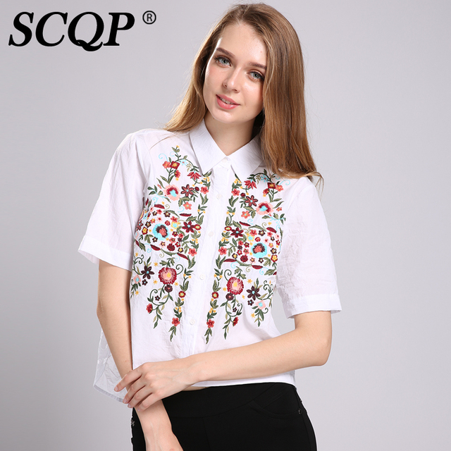 Scqp floral pattern embroidered womens tops white female for White floral shirt womens