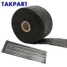 5 cm x 5 m 1200F TAKPART Downpipe Colector de Escape Header Calor Envoltório Frente Tubo Preto