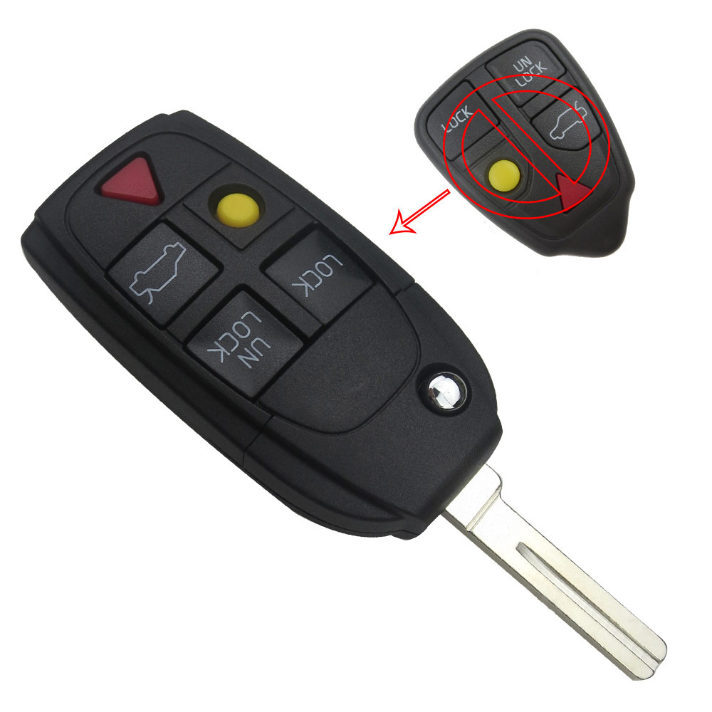 5 Button Replacement Modified Remote Flip Folding Car Key Shell Case Blank Cover Fob For Volvo XC70 XC90 V50 V70 S60 tenda a301 wireless range extender