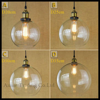 D20 D25 D30 D35cm Big Clear Globe Ball Glass Lampshade Retro Vintage Dining Room Industry Luminaria