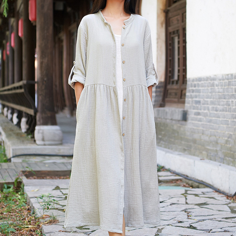 Johnature Women Cotton Linen   Trench   Loose Casual Coats 2018 Autumn New Solid Color Button Long Sleeve Women   Trench   Coats