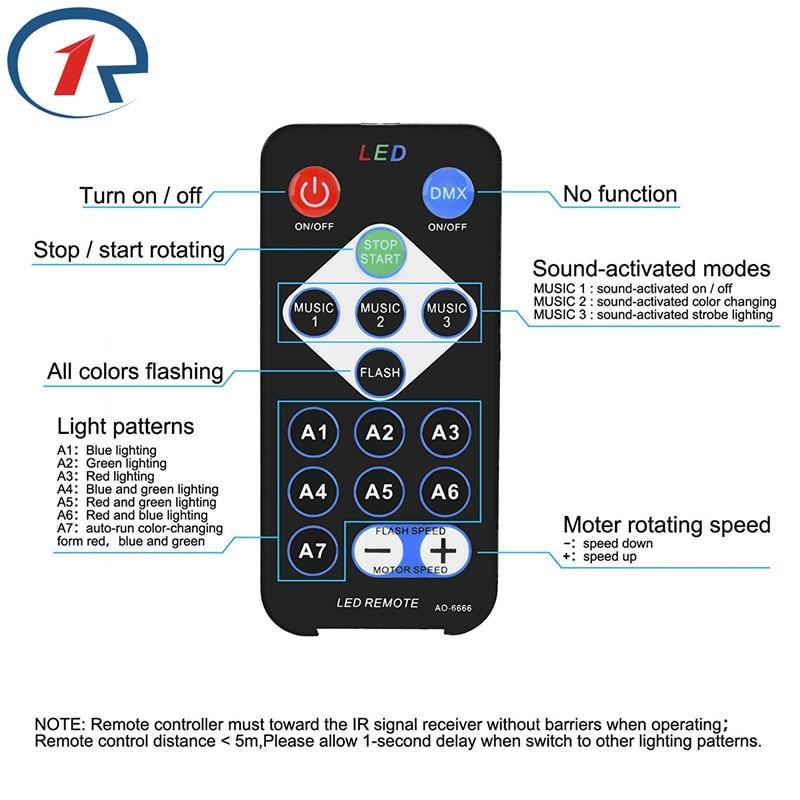 ZjRight IR Remote Magic Rotating Stage Light USB 5V Musikstyrning - Kommersiell belysning - Foto 2
