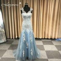 Evening Dresses Elegant 2018 New Mermaid Appliques Court Train Floor Length Mother of the Bride Dresses Blue Formal Dress