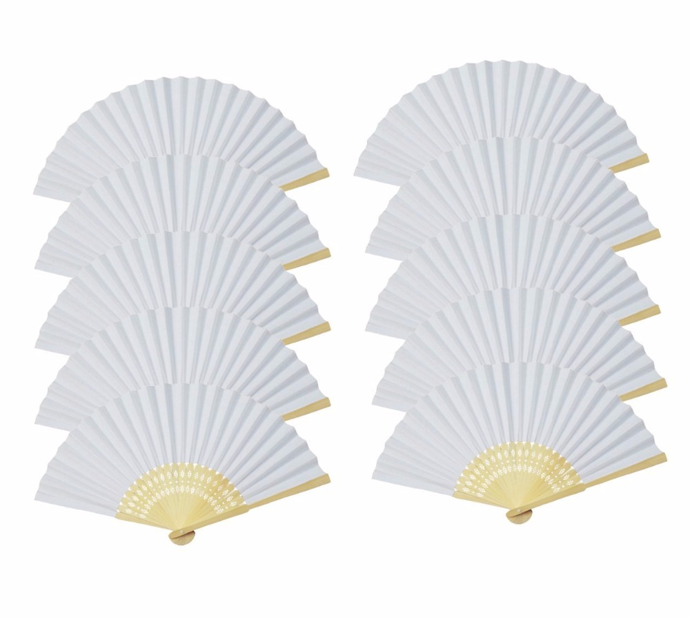 Free Shipping 10 pcs/lot 21 cm White color Paper Hand Fan Wedding ...