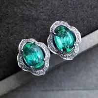 Vintage Silver Emerald Stud Earrings 4 Mm 6 Mm Natural Emerald Earrings Solid 925 Silver Emerald