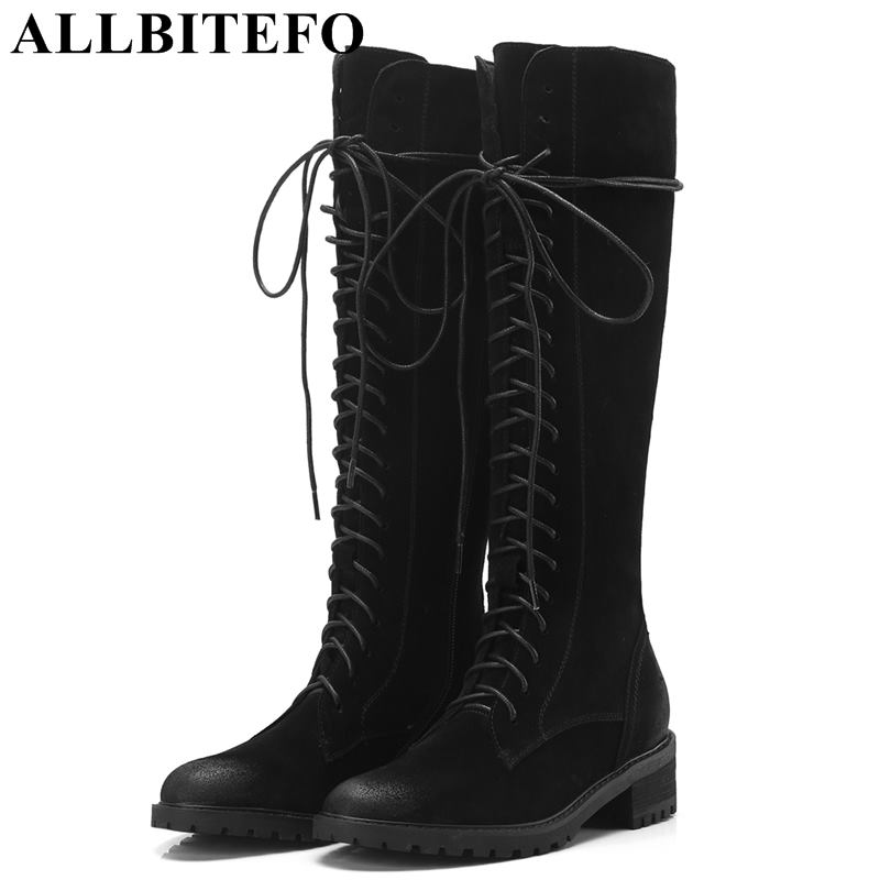 ALLBITEFO new fashion brand Nubuck leather thick heel women boots brand women knee high boots winter snow boots girls shoes allbitefo over the knee boots nubuck leather medium heel women boots 4 colors winter boots thick heel snow boots size 33 43