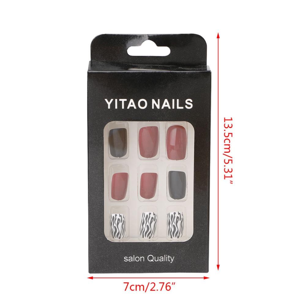 24 Teile/satz Creme Nude Schwarz Rot Farbe Gefälschte Nägel Nette ...