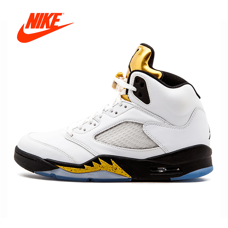 new concept 9cbe5 92e65 Original Neue Ankunft Authentic Nike Air Jordan 5 Retro Olympischen Gold  Medaille männer Komfortable Basketball Schuhe