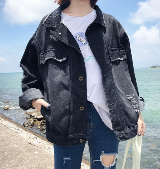2018 loose hole black denim jacket spring and autumn wild jackets F55