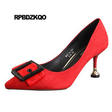 Women Shoes 3 Inch Red Stiletto Heels Pointed Toe Pumps Novelty Bow Unique  Closed Suede Strange. 2 Colors Available 57958cad6c39