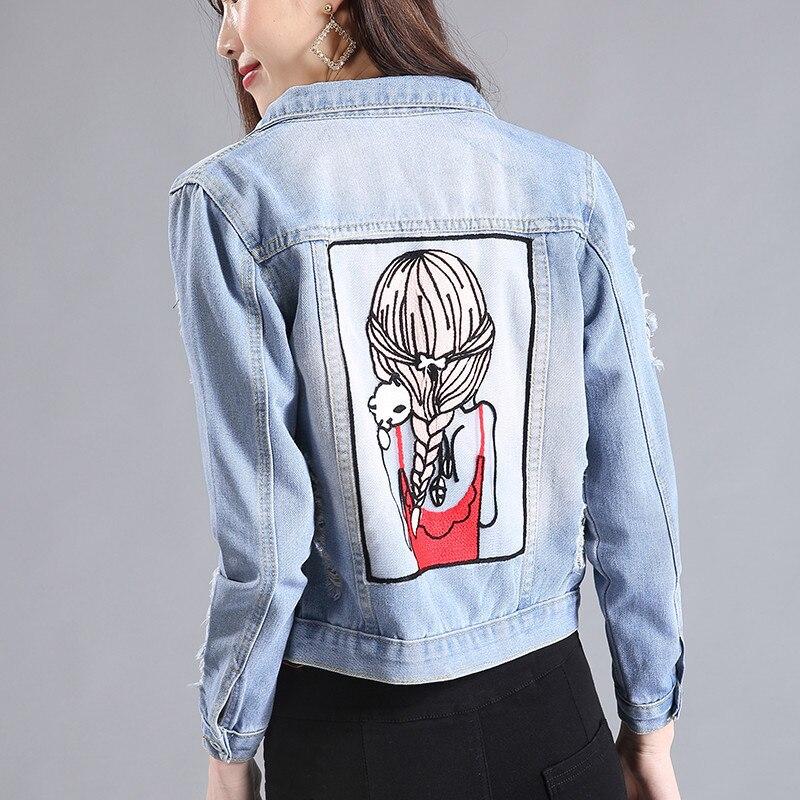 2017 Nueva Primavera Otoño Chaquetas Cortas Mujeres Muchacha de la Impresión de Manga Larga Chaqueta de Las Señoras de Un Solo Pecho de Mezclilla Casual Jeans Chaqueta de La Capa
