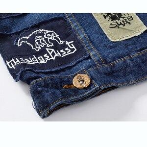 Image 5 - New Hip Hop Mens Patches Design Jeans Vest Ripped Denim Waistcoat Men Denim Vest Man Sleeveless Jeans Vest Frayed MJ 101