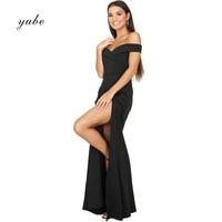 2018 New Fashion Sexy Elegant Women Dress Slash Neck Sleeveless Long Dress Open Fork Formal Dress