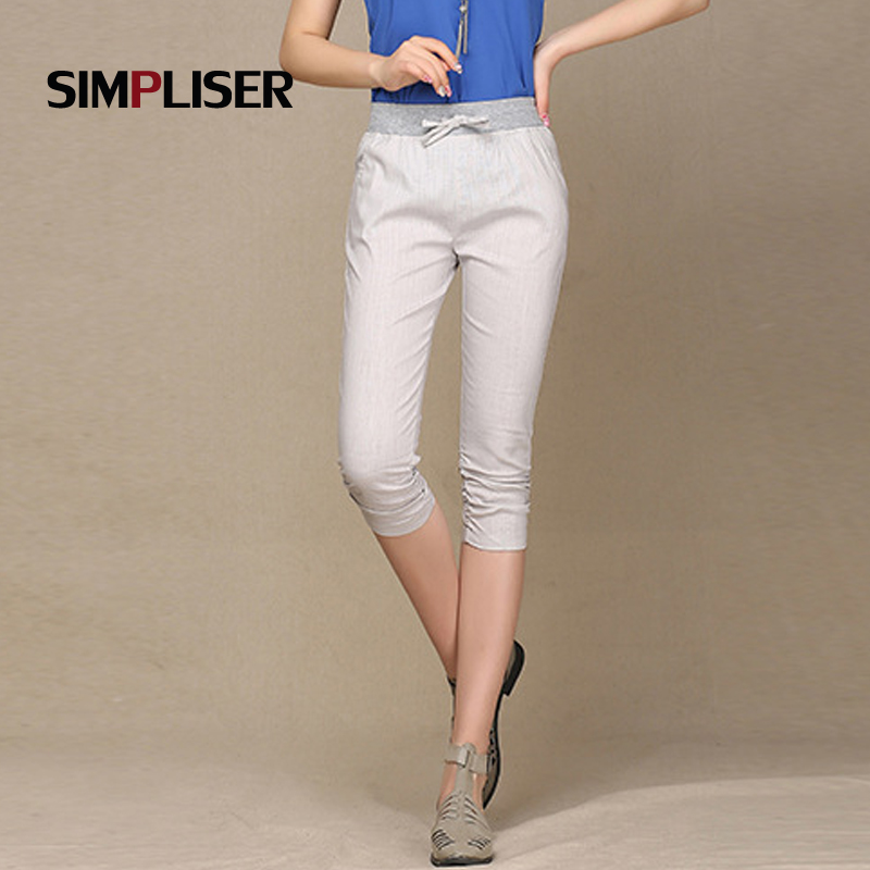 SIMPLISER High Waist Women Harem   Pants   Lace Up Female Trousers Black White Femme Pantalons Plus Size 4XL Ladies   Capri     Pants