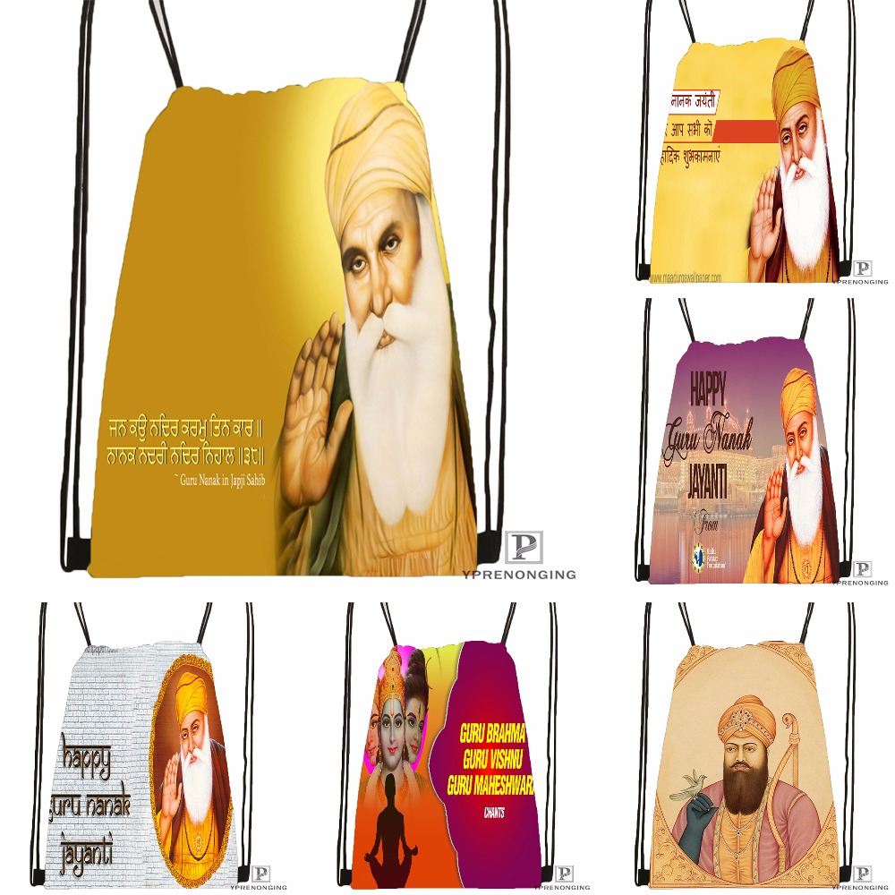 Custom Guru Nanak Dev Pics Drawstring Backpack Bag Cute Daypack Kids Satchel Black Back 31x40cm 180531