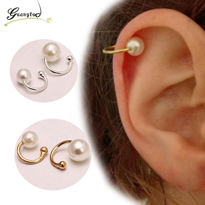 Clip Earing Boucle D'oreille Bijoux Pearls Ear Cuff Earrings For Women Wedding & Engagement Jewelry Oorbellen Brincos