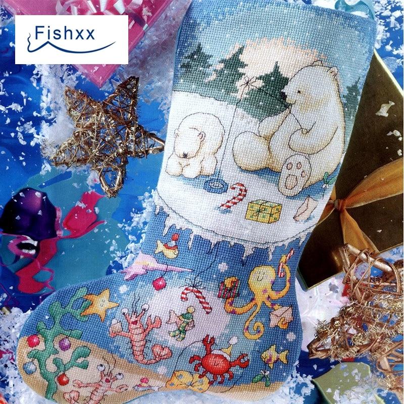 European Magazine Fishxx Cross Stitch Kit Crazy104-2 Snow Christmas Socks Living Room Ornaments Hand DIY Embroidery