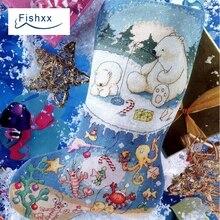 Revista europeia Fishxx Crazy104 2 neve meias de Natal enfeites de sala de estar do Ponto da Cruz Kit mão DIY bordado