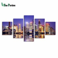 Beatiful night scene to the Modern Artwork 5 Panels Stretched and Framed Contemporary Abstract Paintings on Canvas Wal
