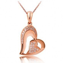 natural Lover Heart  pendant necklace, Rose Gold Plated inlay crystal  fashion pendant necklace  jewelry,necklace for woman