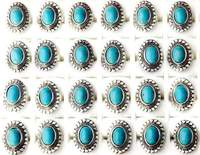 Wholesale Lot Antique Silver Plated Design Mixed Green Turquoise Adjustable Rings
