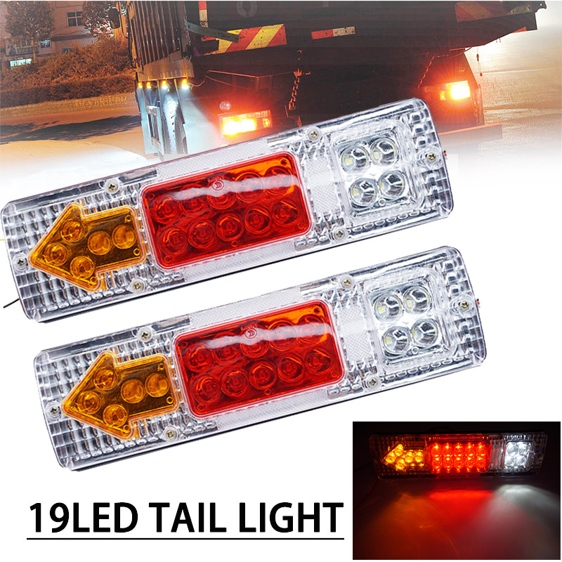 1 Pair 19 LEDs  Left And Right Trailer Truck Rear Tail Stop Turn Light Indicator Lamp Taillight Car Lights For UTE Caravans 12V