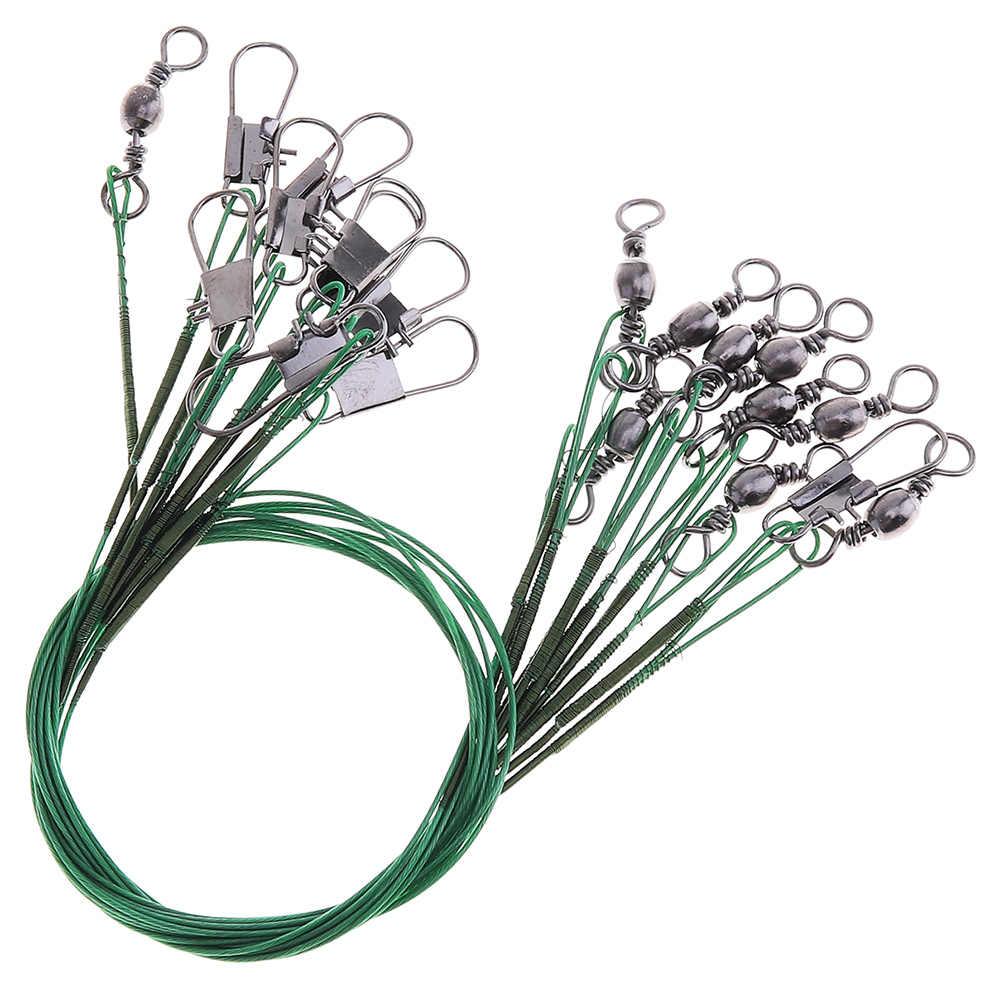 Venta 40 piezas 15cm 20cm 25cm 30cm Acero inoxidable Anti-comer plomo de pesca línea giratorio cable de cuerda con Pin tipo B y anillo de 8 letras