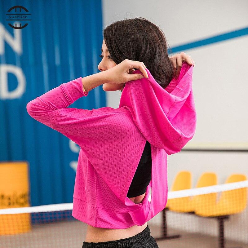 Yuerlian Gym Hollow Back T shirt Jersey Sport T-shirt Dry Quick Running Short Sleeve Fitness Clothes Women Fashional Tees Tops