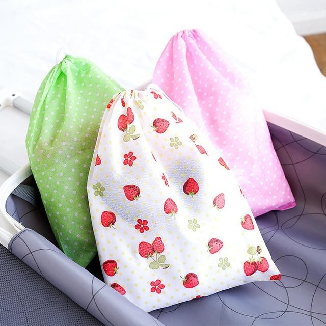 1 個防水不織布コンテナオーガナイザー靴布収納袋旅行巾着バッグ布下着靴バッグ