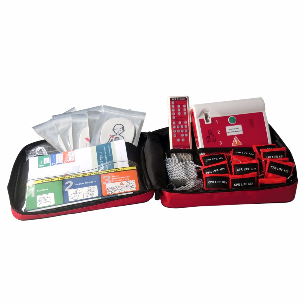 AED/CPR Training Teaching Device XFT-120C AED/Simulation Trainer Emergency Rescue Kit With 50Pcs CPR Mask CPR Face Shiled first aid use aed trainer emergency skills training teaching device in english with 50pcs cpr resuscitator mask for healthy